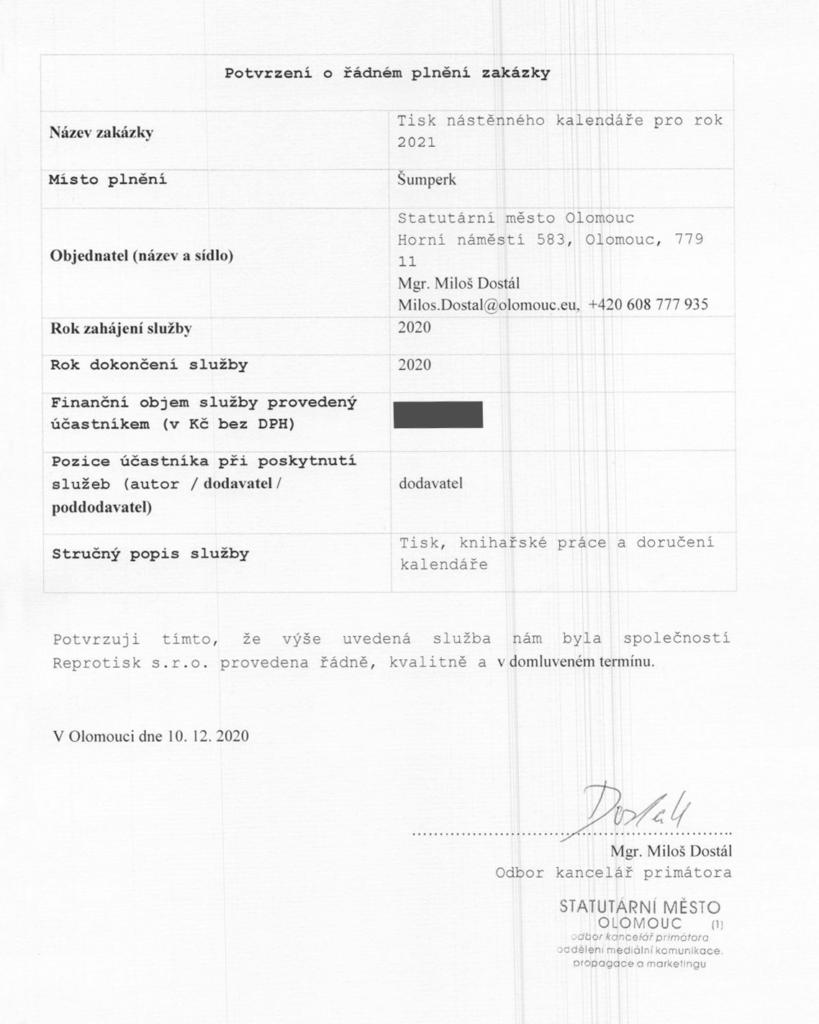 Potvrzení o řádném plnění zakázky od města Olomouc